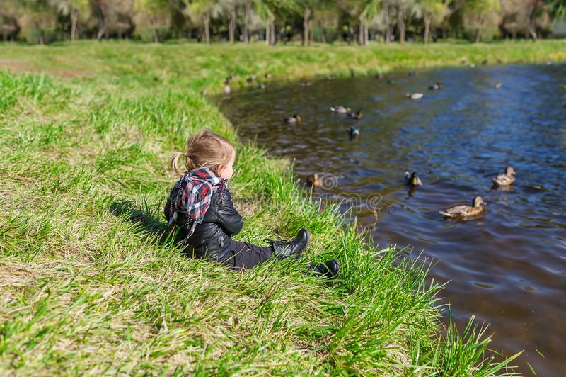Συνεδρίαση μικρών κοριτσιών στη χλόη και εξέταση τη λίμνη με να επιπλεύσει τις πάπιες στοκ εικόνες