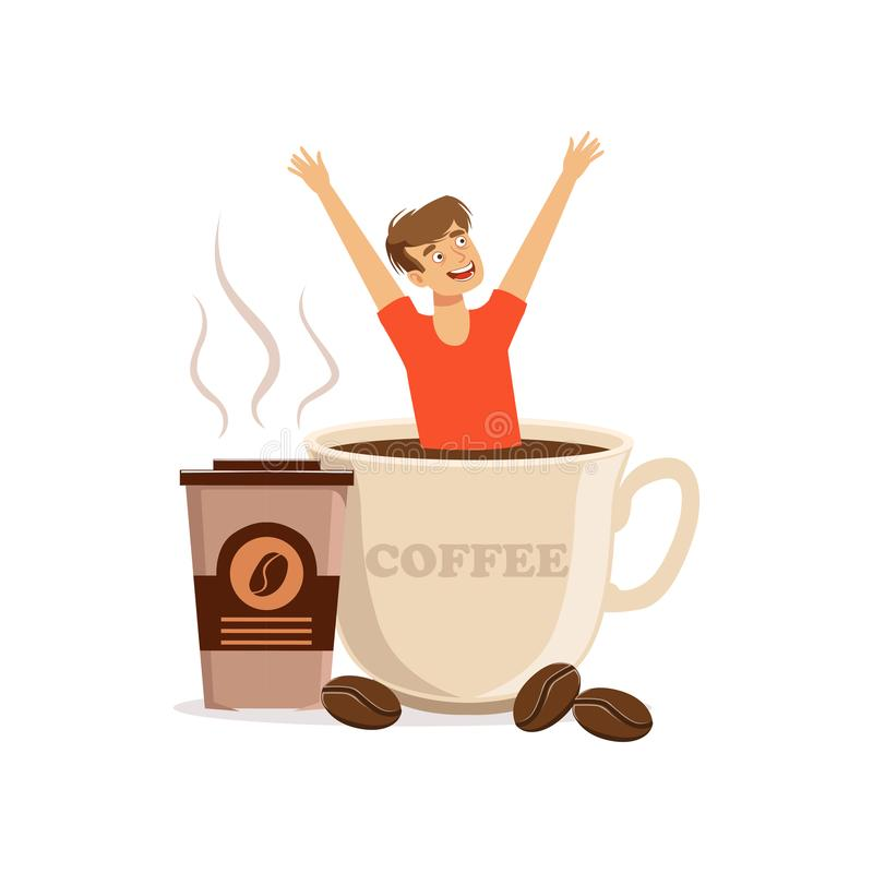 Συνεδρίαση νεαρών άνδρων στο μεγάλου μεγέθους φλιτζάνι του καφέ, εθισμός καφεΐνης, κακή διανυσματική απεικόνιση συνήθειας ελεύθερη απεικόνιση δικαιώματος