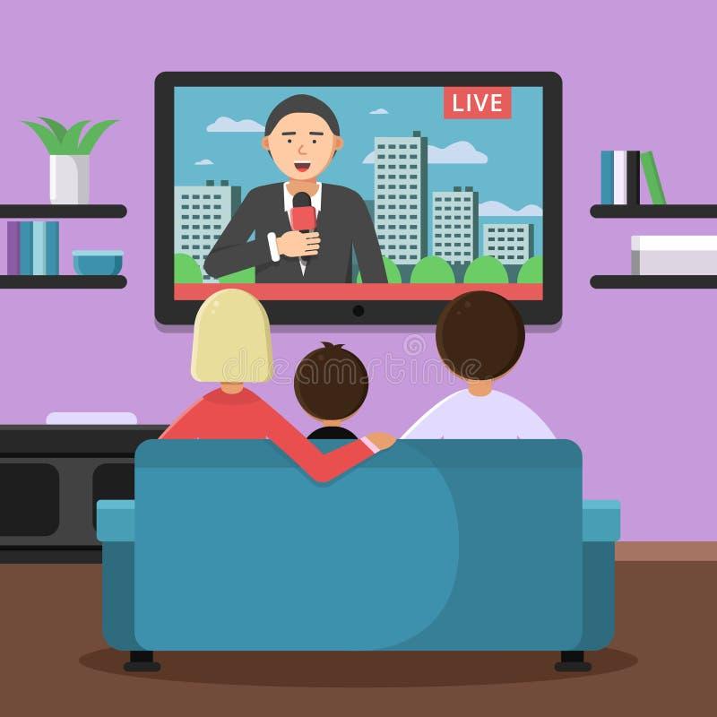 Συνεδρίαση οικογενειακών ζευγών στις ειδήσεις καναπέδων και προσοχής στη TV ελεύθερη απεικόνιση δικαιώματος
