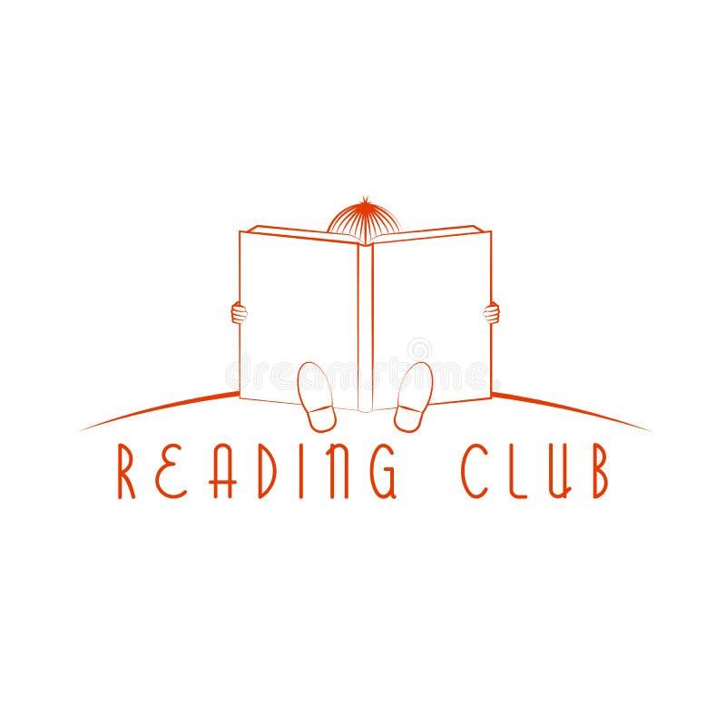 Συνεδρίαση παιδιών και διαβασμένο βιβλίο, λογότυπο λεσχών ανάγνωσης απεικόνιση αποθεμάτων