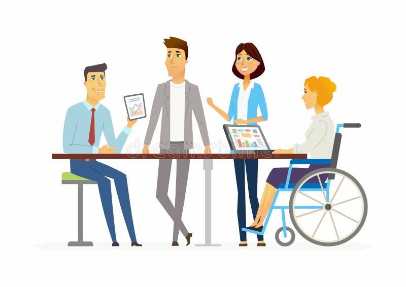 Συνεδρίαση στο γραφείο - σύγχρονη απεικόνιση χαρακτήρων ανθρώπων κινούμενων σχεδίων απεικόνιση αποθεμάτων