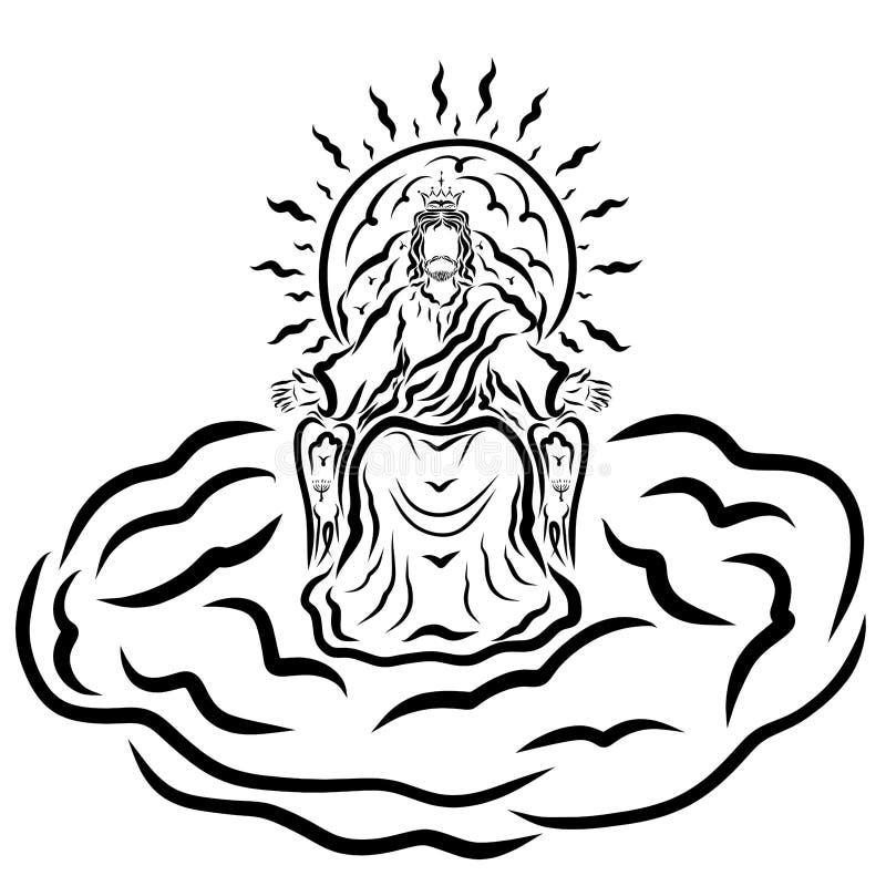Συνεδρίαση του Ιησού βασιλιάδων σε έναν θρόνο σε ένα σύννεφο που ευλογεί τους ανθρώπους απεικόνιση αποθεμάτων