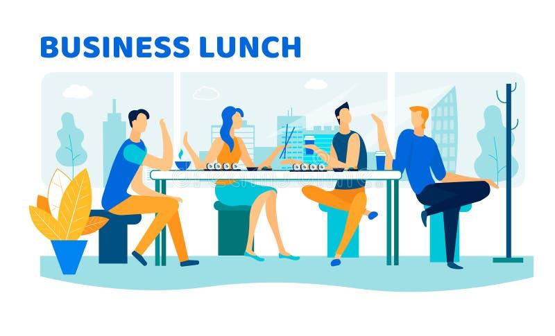Συνεδρίαση των φίλων στο φραγμό σουσιών για το επιχειρησιακό μεσημεριανό γεύμα απεικόνιση αποθεμάτων