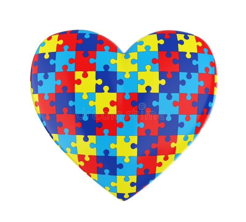 Συνειδητοποίηση αυτισμού καρδιών γρίφων που απομονώνεται διανυσματική απεικόνιση