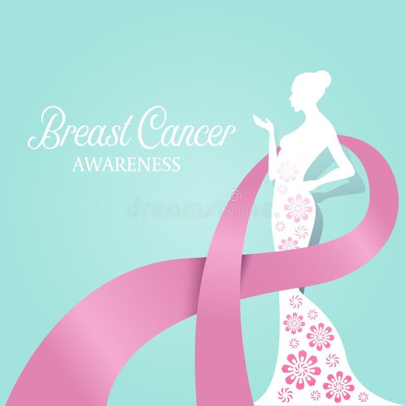 ΣΥΝΕΙΔΗΤΟΠΟΙΗΣΗ καρκίνου του μαστού με τη ρόδινη κορδέλλα γύρω από το διανυσματικό σχέδιο λουλουδιών εγγράφου λευκών γυναικών διανυσματική απεικόνιση