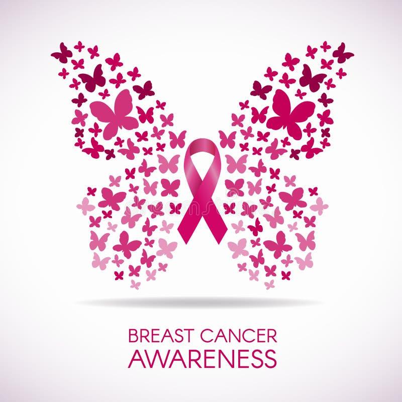 Συνειδητοποίηση καρκίνου του μαστού με το σημάδι πεταλούδων και τη ρόδινη διανυσματική απεικόνιση κορδελλών διανυσματική απεικόνιση