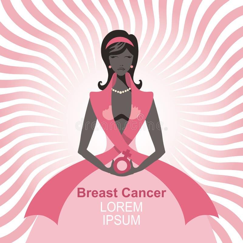 Συνειδητοποίηση καρκίνου του μαστού Σκιαγραφία γυναικών, πορτρέτο διανυσματική απεικόνιση