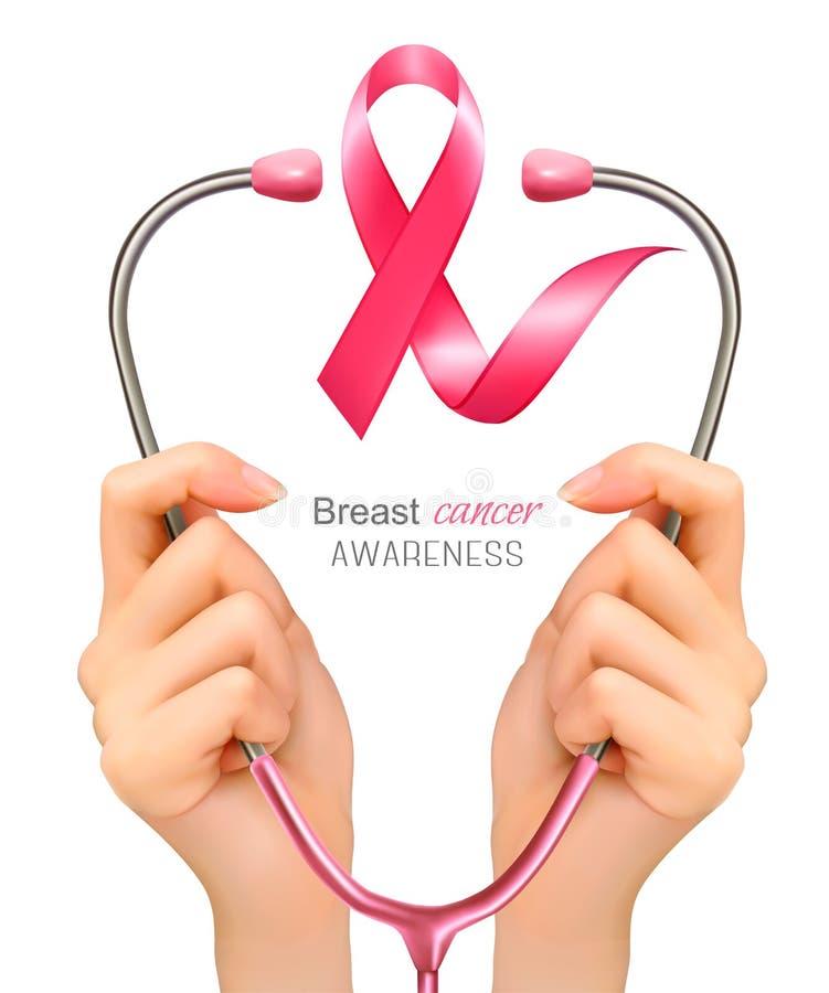 Συνειδητοποίηση καρκίνου του μαστού Χέρια που κρατούν ένα στηθοσκόπιο ελεύθερη απεικόνιση δικαιώματος