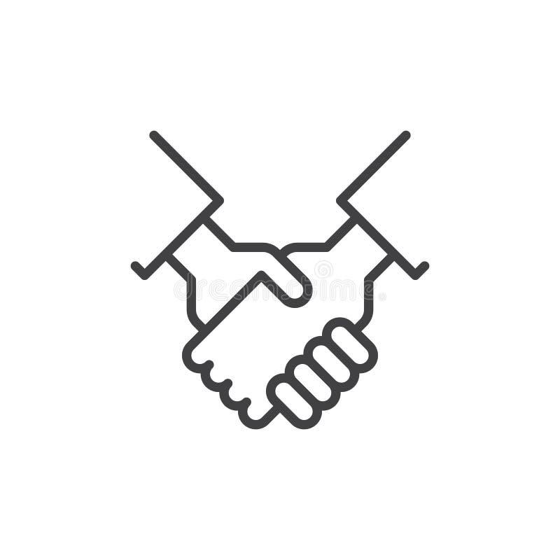 Συνεργασία, εικονίδιο γραμμών συμφωνίας, διανυσματικό σημάδι περιλήψεων, γραμμικό εικονόγραμμα ύφους που απομονώνεται στο λευκό ελεύθερη απεικόνιση δικαιώματος