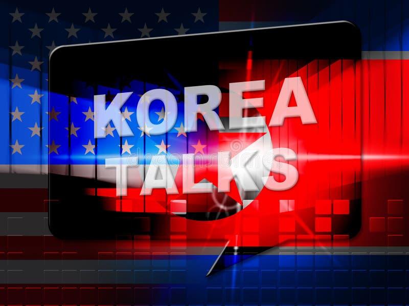 Συνεργασία ειρήνης Βόρεια Κορεών με την αμερικανική τρισδιάστατη απεικόνιση απεικόνιση αποθεμάτων