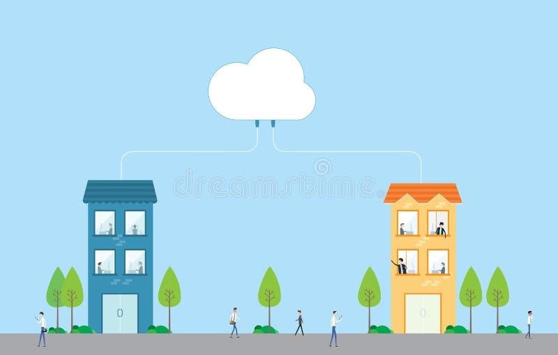 Συνεργασία επιχειρησιακής εργασίας στην έννοια δικτύων σύννεφων διανυσματική απεικόνιση