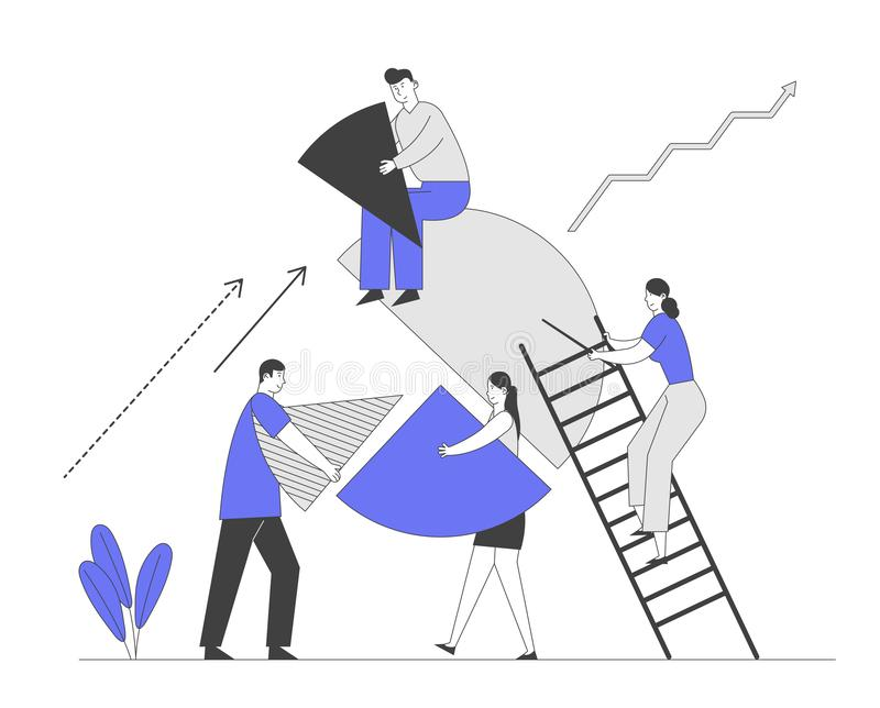 Συνεργασία και εταιρική σχέση μεταξύ των επιχειρηματιών Businesspeople Characters Set Up Huge Pie Chart Pieces απεικόνιση αποθεμάτων