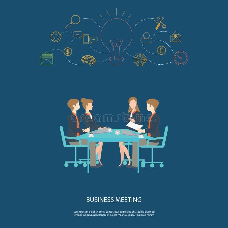 Συνεργασία και 'brainstorming' επιχειρησιακής συνεδρίασης απεικόνιση αποθεμάτων