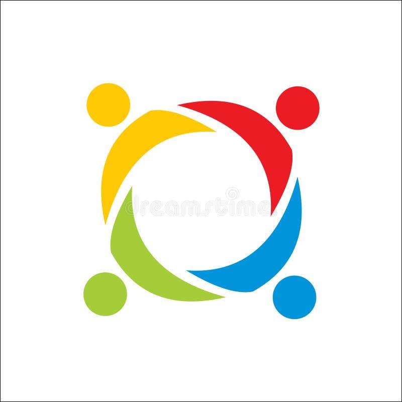 Συνεργασία, ομαδική εργασία ανθρώπων, κοινοτικό διανυσματικό πρότυπο λογότυπων ανθρώπων απεικόνιση αποθεμάτων