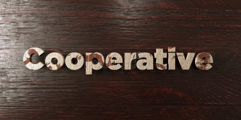 Συνεταιριστικό - βρώμικος ξύλινος τίτλος στο σφένδαμνο - τρισδιάστατο δικαίωμα ελεύθερη εικόνα αποθεμάτων διανυσματική απεικόνιση