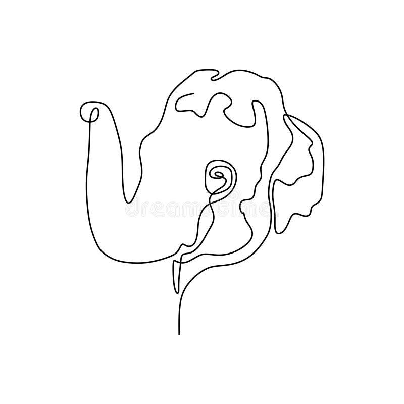 Συνεχές διάνυσμα γραμμών του κεφαλιού ελεφάντων στο άσπρο υπόβαθρο απεικόνιση αποθεμάτων