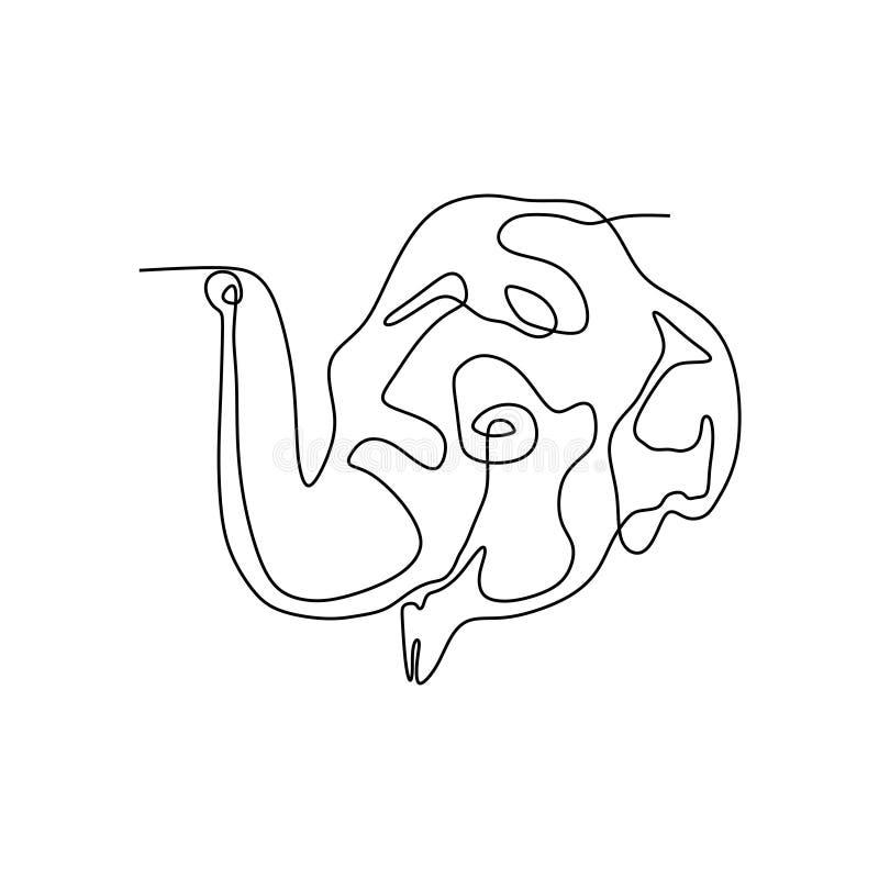 Συνεχές διάνυσμα γραμμών του κεφαλιού ελεφάντων στο άσπρο υπόβαθρο ελεύθερη απεικόνιση δικαιώματος