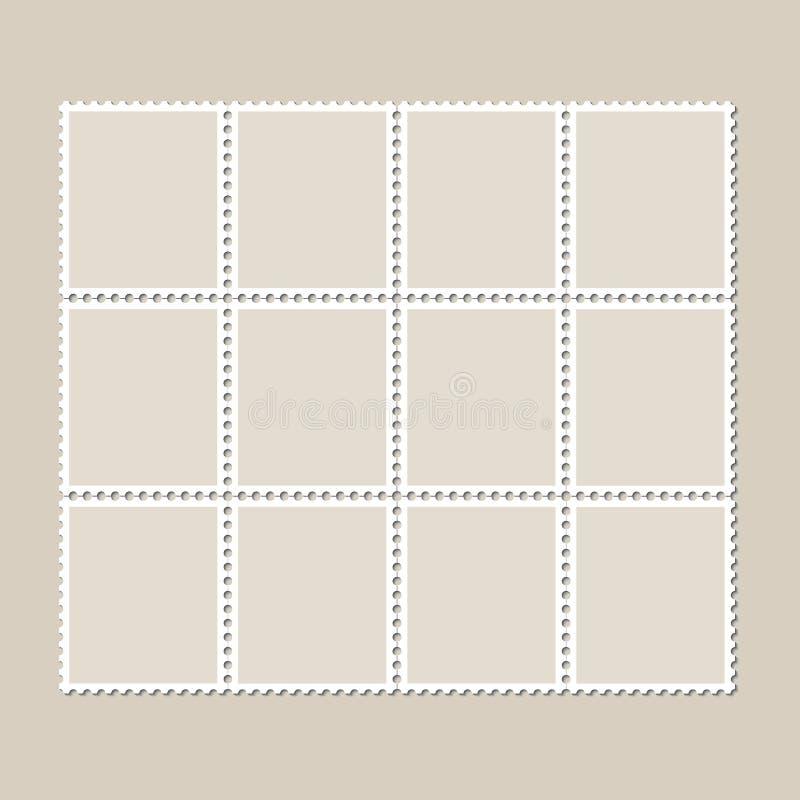 Συνεχές εκλεκτής ποιότητας φύλλο δώδεκα γραμματοσήμων Σύνολο γραμματοσήμων σε ένα ελαφρύ υπόβαθρο με μια σκιά ελεύθερη απεικόνιση δικαιώματος