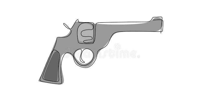 συνεχές εργαλείο σχεδίων γραμμών για να πυροβολήσει ένα πυροβόλο όπλο ελεύθερη απεικόνιση δικαιώματος