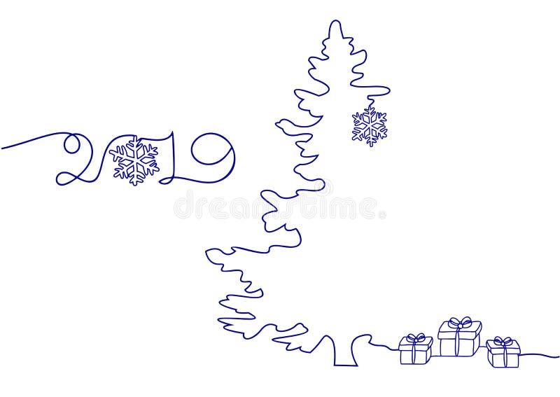 Συνεχές σχέδιο γραμμών διακοπών καλής χρονιάς, χριστουγεννιάτικο δέντρο, Snowflakes, δώρα Διανυσματικό μινιμαλιστικό γραμμικό σχέ απεικόνιση αποθεμάτων