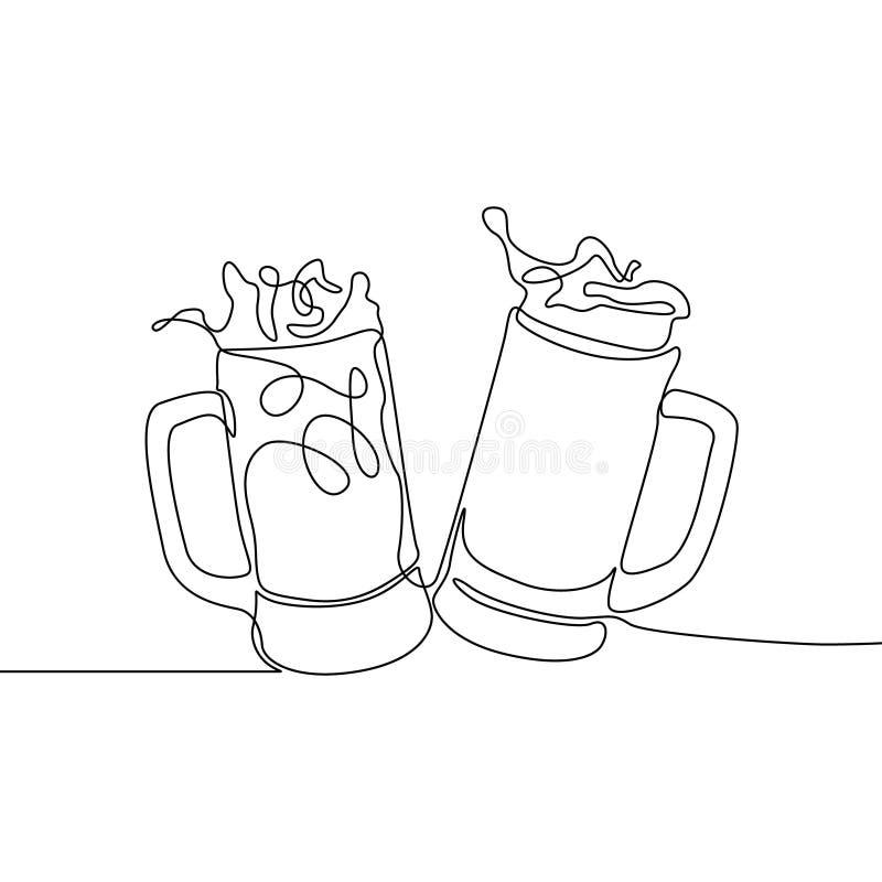 Συνεχές σχέδιο γραμμών δύο γυαλιά αρκούδων Ψεκασμός μπύρας r διανυσματική απεικόνιση