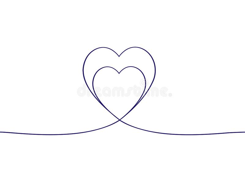 Συνεχές σχέδιο γραμμών δύο καρδιές Συνεχές σχέδιο των καρδιών στο άσπρο υπόβαθρο background dim heart hearts images απεικόνιση αποθεμάτων