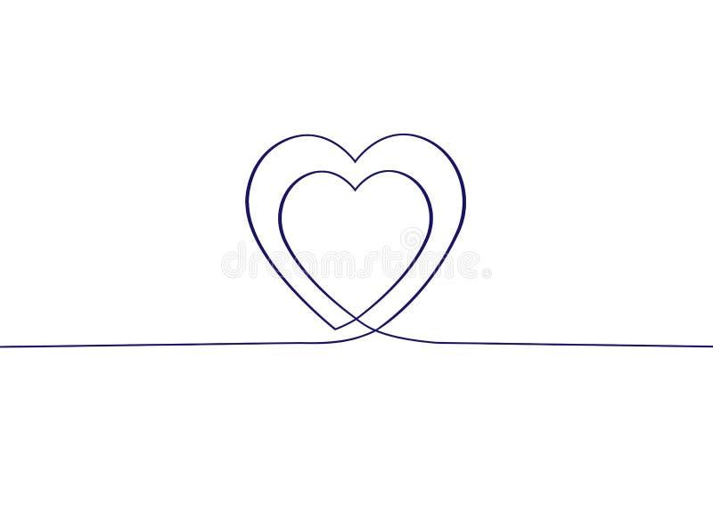 Συνεχές σχέδιο γραμμών δύο καρδιές Συνεχές σχέδιο των καρδιών στο άσπρο υπόβαθρο background dim heart hearts images ελεύθερη απεικόνιση δικαιώματος