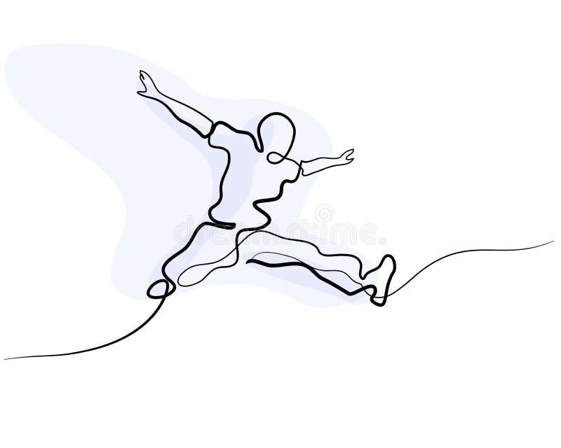Συνεχές σχέδιο γραμμών ευτυχές πηδώντας άτομο διανυσματική απεικόνιση