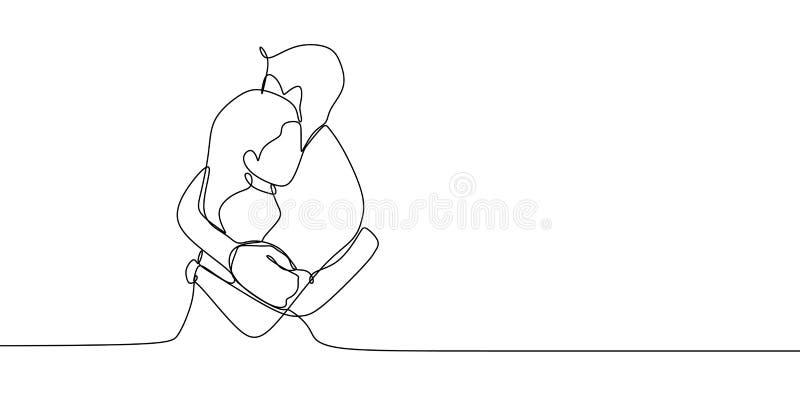 Συνεχές σχέδιο γραμμών μιας διανυσματικής απεικόνισης αγκαλιάσματος ζευγών Ρομαντική έννοια του ρωμανικού σχεδίου αγάπης στο μινι ελεύθερη απεικόνιση δικαιώματος