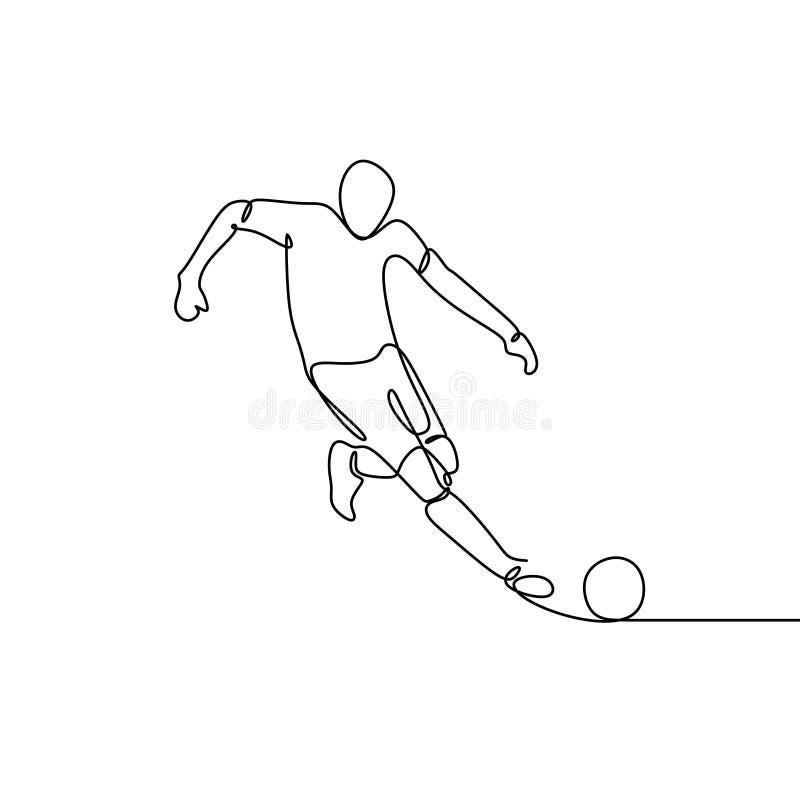 Συνεχές σχέδιο γραμμών της σφαίρας βλαστών ποδοσφαιριστών απεικόνιση αποθεμάτων