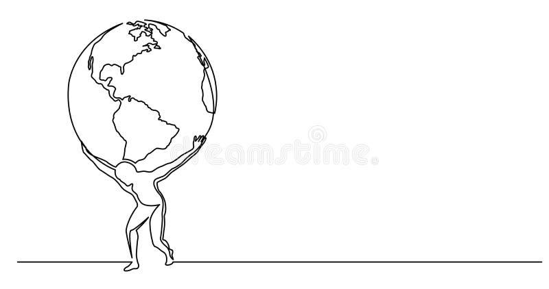 Συνεχές σχέδιο γραμμών του ατόμου που κρατά τον κόσμο στους ώμους του ελεύθερη απεικόνιση δικαιώματος