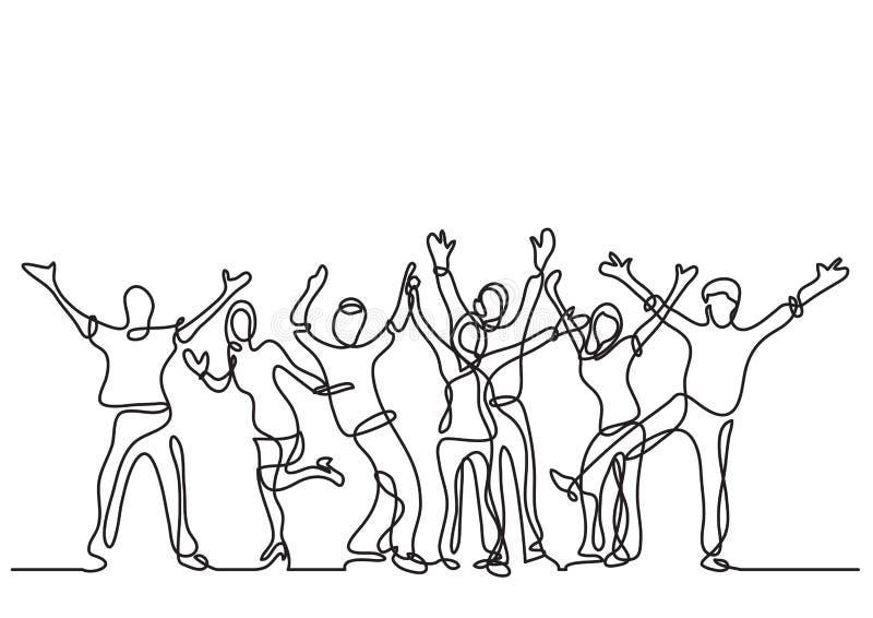 Συνεχές σχέδιο γραμμών του ευτυχούς εύθυμου πλήθους των ανθρώπων ελεύθερη απεικόνιση δικαιώματος