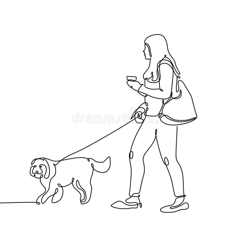 Συνεχές σχέδιο γραμμών του καφέ κατανάλωσης περπατήματος σκυλιών και κοριτσιών ελεύθερη απεικόνιση δικαιώματος