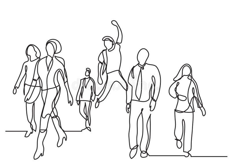 Συνεχές σχέδιο γραμμών του περπατήματος ομάδων ανθρώπων απεικόνιση αποθεμάτων