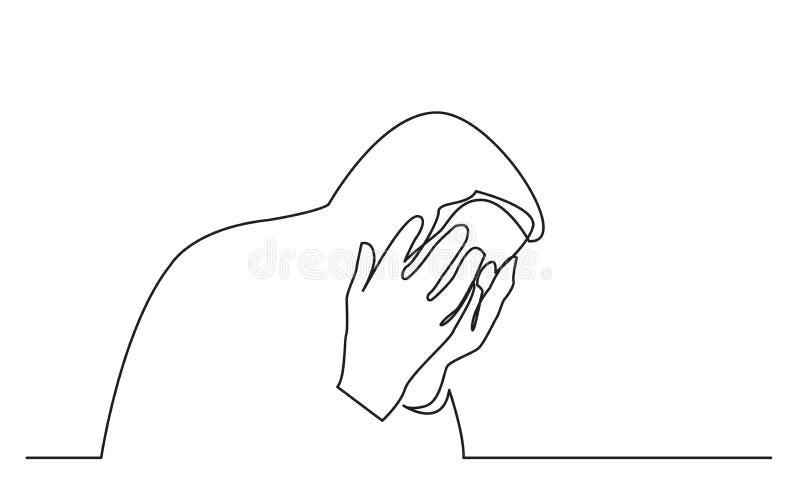 Συνεχές σχέδιο γραμμών του προσώπου συνεδρίασης στη θλίψη διανυσματική απεικόνιση