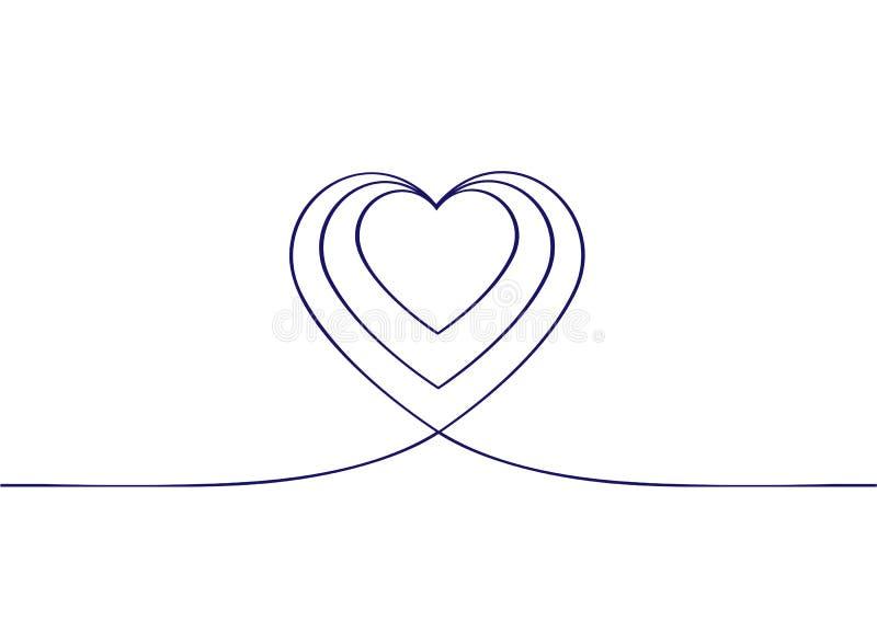 Συνεχές σχέδιο γραμμών των καρδιών Καρδιές της έννοιας αγάπης στο άσπρο υπόβαθρο background dim heart hearts images διανυσματική απεικόνιση