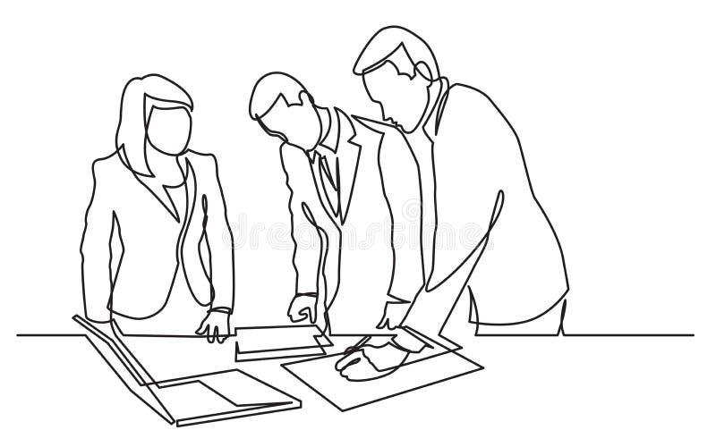 Συνεχές σχέδιο γραμμών των μόνιμων εργαζομένων γραφείων που εκδίδουν τα έγγραφα εγγράφου διανυσματική απεικόνιση
