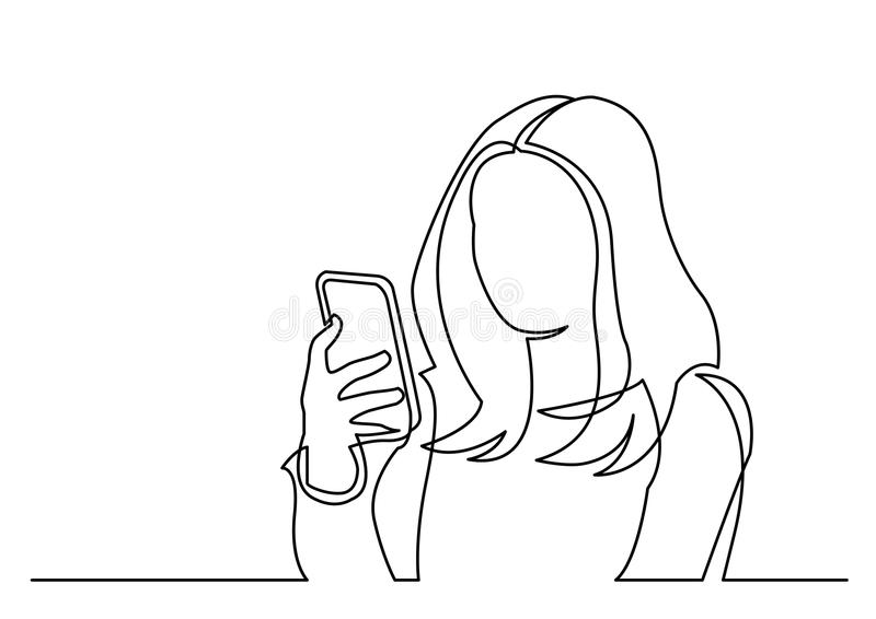 Συνεχές σχέδιο γραμμών της γυναίκας που διαβάζει το κινητό τηλέφωνο ελεύθερη απεικόνιση δικαιώματος