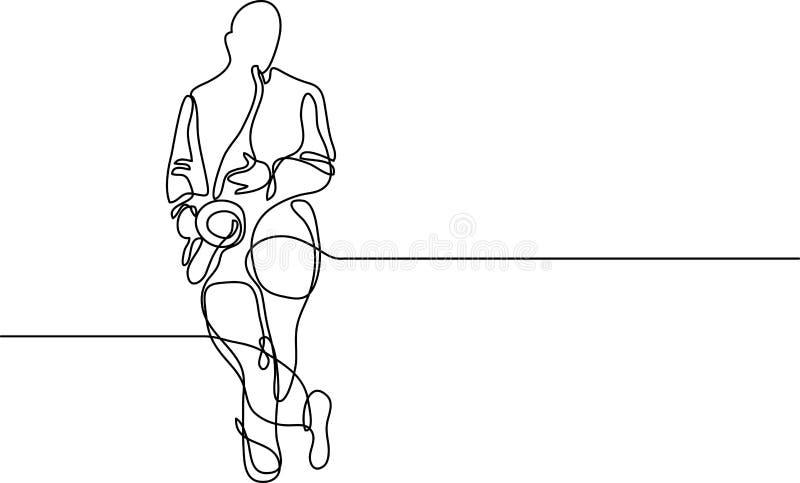 Συνεχές σχέδιο γραμμών της στάσης φορέων saxophone ελεύθερη απεικόνιση δικαιώματος