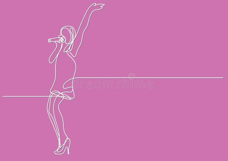 Συνεχές σχέδιο γραμμών της τραγουδώντας γυναίκας απεικόνιση αποθεμάτων