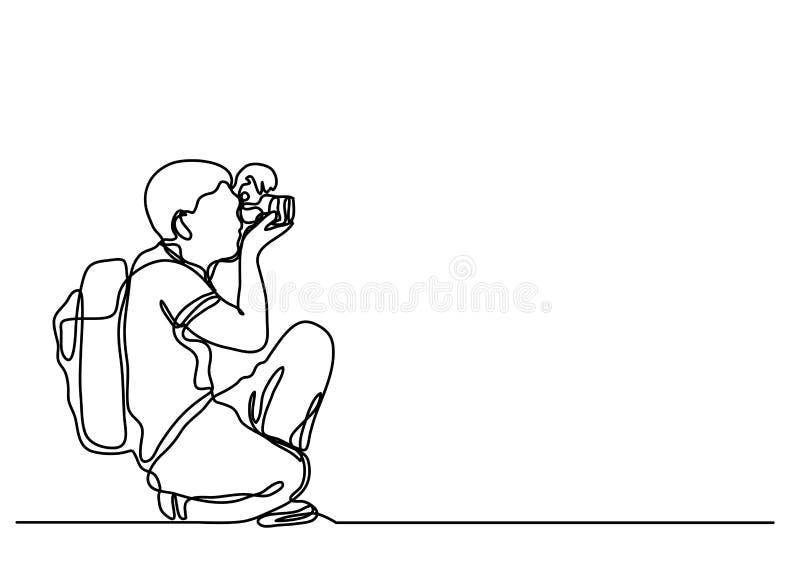Συνεχές σχέδιο γραμμών του ερασιτέχνους φωτογράφου που κάνει τις εικόνες διανυσματική απεικόνιση