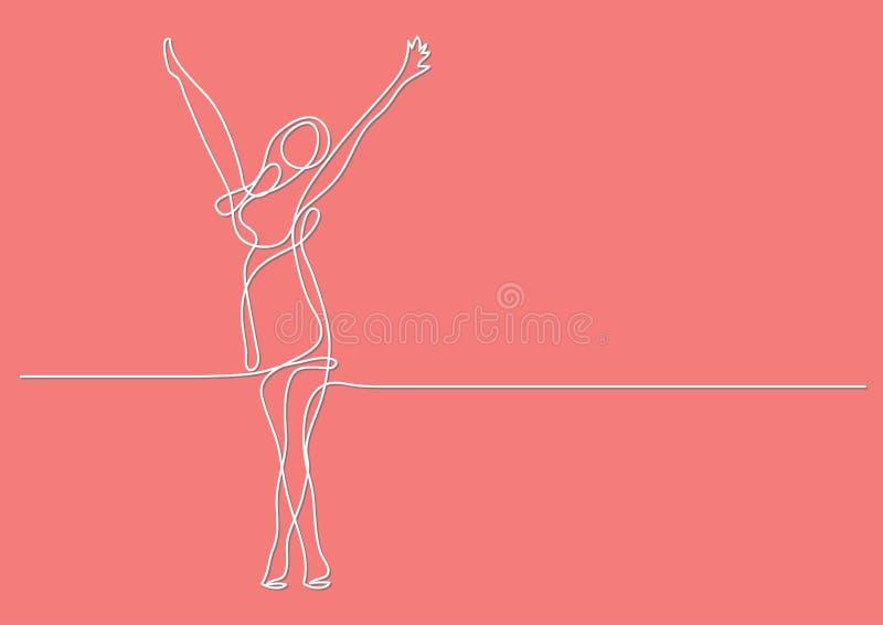 Συνεχές σχέδιο γραμμών του ευτυχούς τεντώματος γυναικών ελεύθερη απεικόνιση δικαιώματος