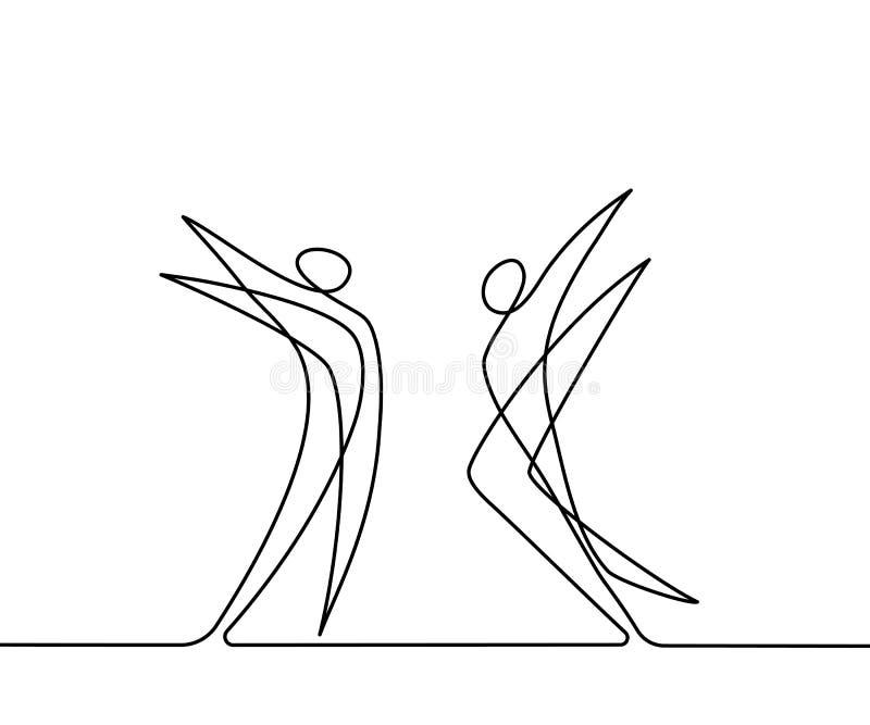 Συνεχές σχέδιο γραμμών των αφηρημένων χορευτών απεικόνιση αποθεμάτων