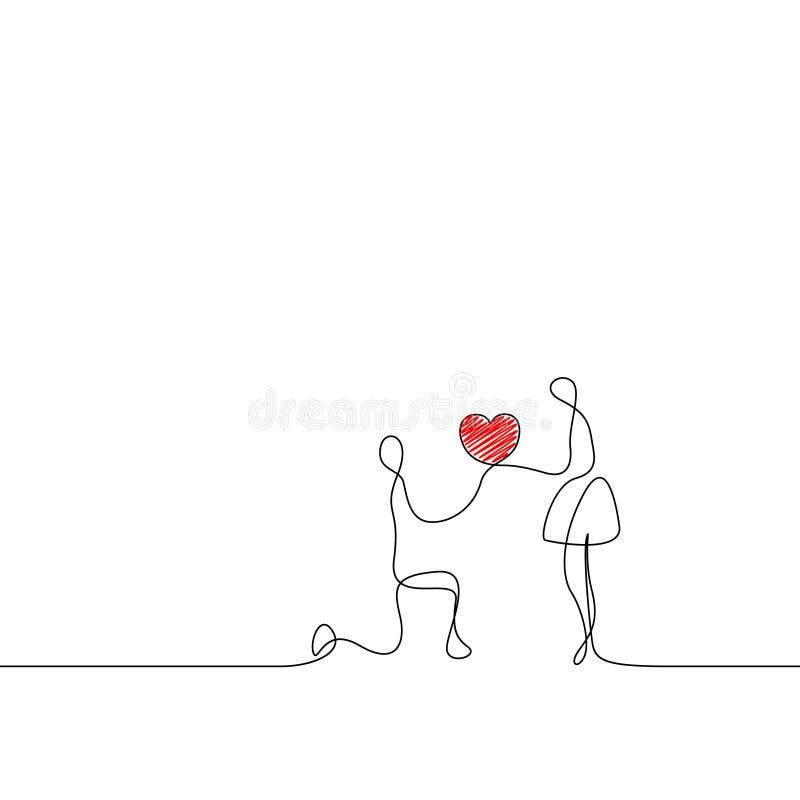 Συνεχής άνδρας γραμμών κάνει μια πρόταση γάμου σε μια γυναίκα απεικόνιση αποθεμάτων
