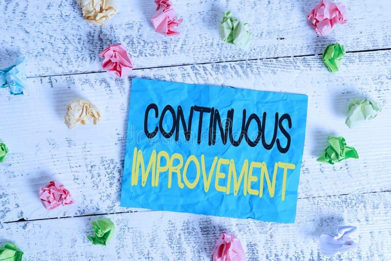 Συνεχής βελτίωση κειμένου για γραφή λέξεων Επιχειρηματική ιδέα για συνεχιζόμενη προσπάθεια βελτίωσης προϊόντων ή διαδικασιών στοκ εικόνες