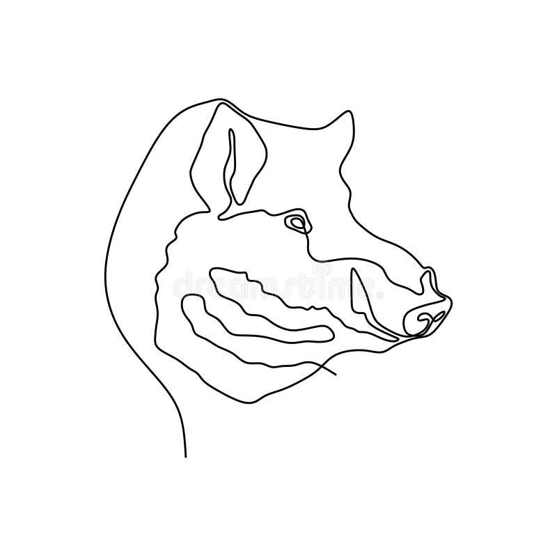 συνεχής γραμμή χαριτωμένου κεφαλιού χοίρων διανυσματική απεικόνιση