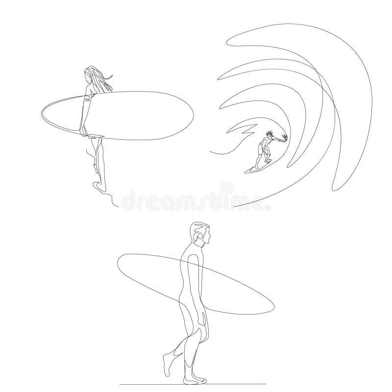 Συνεχής γραμμή surfer έθεσε Θερινοί Ολυμπιακοί Αγώνες r απεικόνιση αποθεμάτων