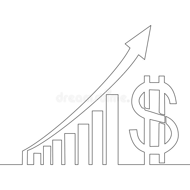 Συνεχής γραφικές παραστάσεις δολαρίων κέρδους σχεδίων γραμμών ελεύθερη απεικόνιση δικαιώματος
