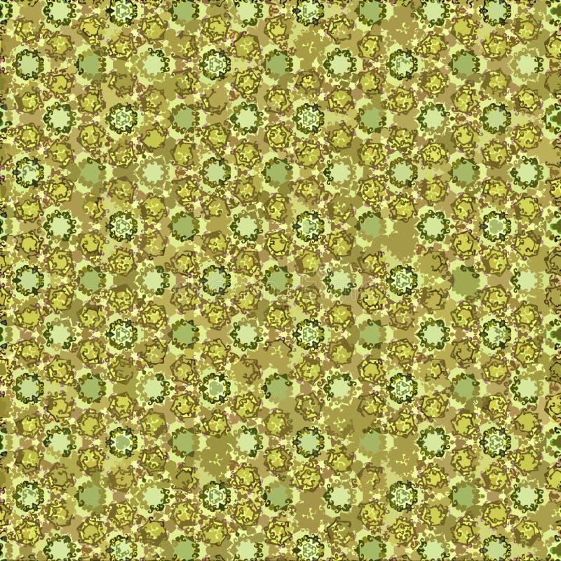 Συνεχής κίτρινη και χρυσή floral ταπετσαρία στροβίλων διανυσματική απεικόνιση