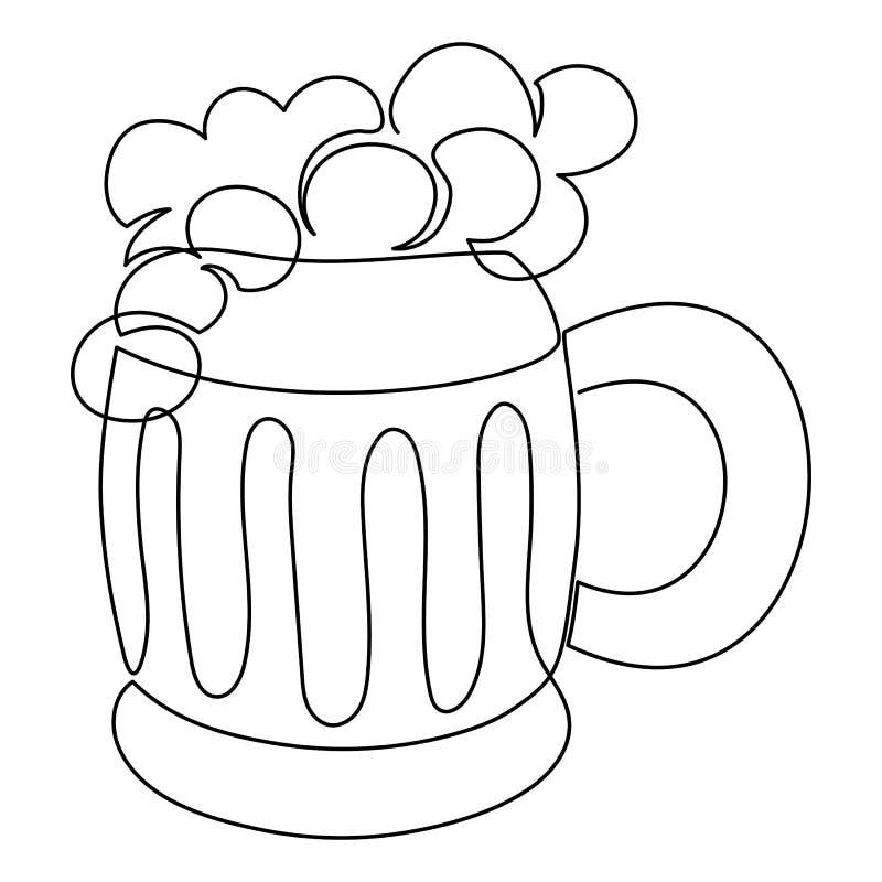 Συνεχής κούπα αγγλικής μπύρας μπύρας σχεδίων τέχνης γραμμών ελεύθερη απεικόνιση δικαιώματος